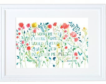 Anais Nin Quote, I Am Enough, Quote Wall Decor, Art Print Floral, Watercolor Painting, Meera Lee Patel