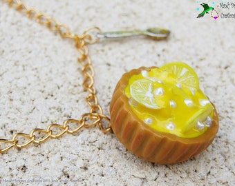 Gourmet necklace: lemon tart, polymer clay