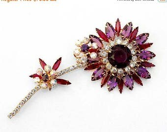 20% OFF SALE - Massive Juliana / Delizza & Elster Amethyst, Siam, Crystal and Crystal AB Floral Brooch - Verified