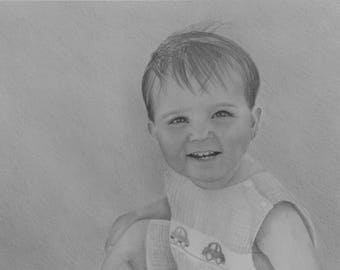Custom Portrait Drawing From Your Photo - 8x10 Original Pencil Sketch From Your Photograph