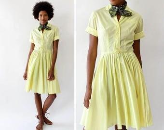 Vintage Shirtwaist Dress S • 50s Shirtwaist Dress • Cotton Summer Dress • Vintage Yellow Dress • Summer Cotton Dress • 50s Dress | D1476