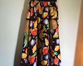 Vintage 80s black fruit pineapple print skirt