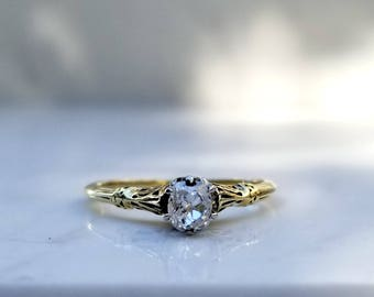 Antique Art Deco Old Mine Cut Solitaire Diamond Enagement Ring in 14k Solid Yellow Gold, Size 6.5