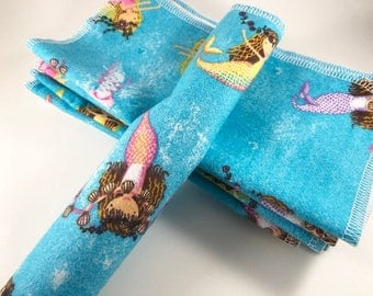 Flannel Baby Wipes, Cloth Wipes, Reusable Baby Wipes, Single Layer Wipes, Mermaids