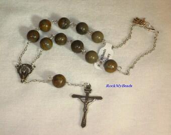 Brown Earthtones Car Rosary,10 Decate Car Rosary,Auto Rosary,Rosary,Pocket Rosary,Catholic Rosary,Catholic,Prayer Beads,Travel Rosary,Cross