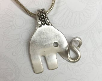 Baby Elephant Fork Necklace, Cocktail Fork Pendant, Elephant Necklace, Silverware Jewelry