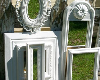 5 Bright White Shabby Chic Ornate Wall Mirrors