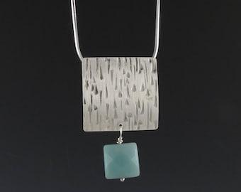 "Zen Silver and Amazonite Pendant, ""Waterfall Pendant"""