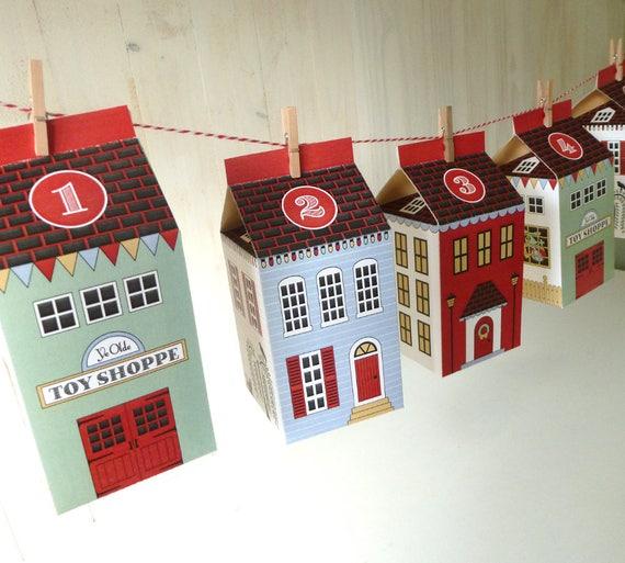 Advent Calendar Village Diy : Advent calendar boxes printable christmas village