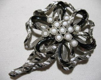 Vintage Pot Metal Brooch with Black and White Painted Accents