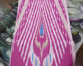 Uzbek traditional cotton woven ikat fabric by meter. Tribal, ethnic, boho fabric. Peacock's tail pattern