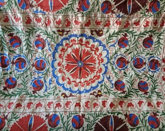 Uzbek hand embroidered suzani. Wall hanging, table runner, bed cover suzani. Pomegranates and medallions suzani. SW060