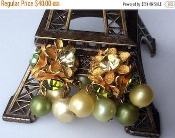 ANNIVERSARY SALE Green and Yellow Pearl and Rhinestone Earrings