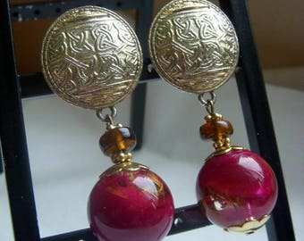 ANNIVERSARY SALE Dauplaise Gold and Burgundy Runway Earrings