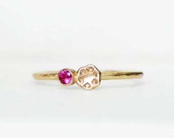 Skinny Ruby Poppy Ring - 1.3mm Gold Stacking Ring - Eco-Friendly Recycled