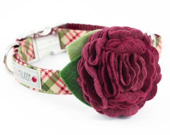 Holiday Burgundy Plaid Dog Collar with Flower
