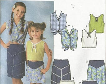 Simplicity 7191 Girls Skirt and Top pattern SZ 7-14