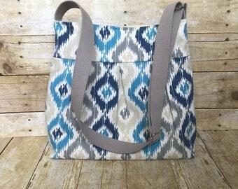 SALE! Crossbody Bag / Large Pleated Cossbody Bag - Blue Navy Grey Modern Diamond Ikat Twill Fabric