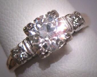 Antique Old Euro Diamond Wedding Ring Art Deco Vintage 14K White Gold 1930 .95CT