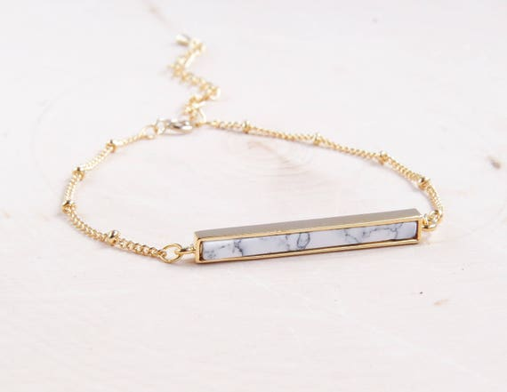 Gold Marble Bar Bracelet