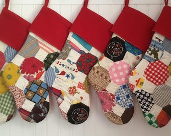 Vintage Mid Century Quilt Family Christmas Stocking Set of 5 Country Christmas Shabby READY TO SHIP Can Face Either Direction