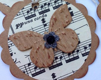 Butterfly/music hangtag/gift tag set