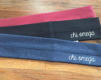 New Chi Omega Workout Headband // You Pick Color