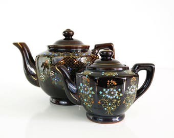 Vintage Japanese Hand Painted Teapots, Set of 2