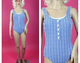 Vintage Blue and White Gingham Swimsuit Bathing Suit One Piece