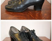 1940s Shoes // Red Cross Lace up Oxford Heels // vintage 40s oxfords