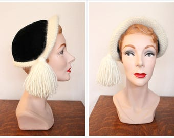 1950s Hat // Snow Queen Velvet & Wool Hat // vintage 50s hat