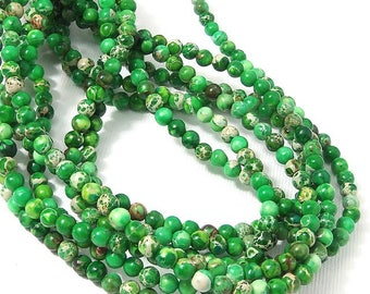 Impression Stone, 4mm, Green, Light and Dark, Round, Smooth, Mixed Color, Multicolored, Gemstone Beads, Very Small, 16 Inch Strand - ID 2246