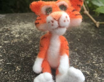 Ooak needle felted orange and white tiger with black stripes