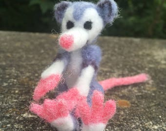 Ooak needle felted opossum