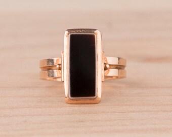 Layaway Payment #1 of 3 for F---Black Sardonyx Signet Rectangular 14k Rose Gold Ring