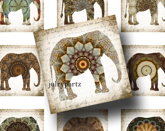 FAE•1x1 Elephant Images•Printable Digital Images•Cards•Gift Tags•Stickers•Magnets•Digital Collage Sheet