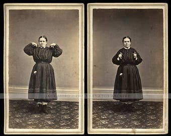1860s CDV Series - Working Out w Dumbbells Cadwallader Women's Rights Suffragist
