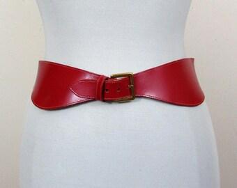"""1970s Contour Leather Belt - Dark Red - Waist or Low Waist - 30-31.5"""""""