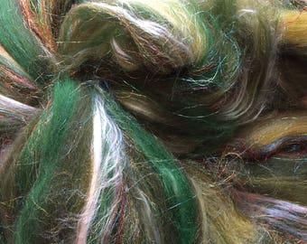 Shimmer Jade - Merino Wool/Silk/Trilobal Mix for Needle Felting, Wet Felting & Spinning approx 45gm
