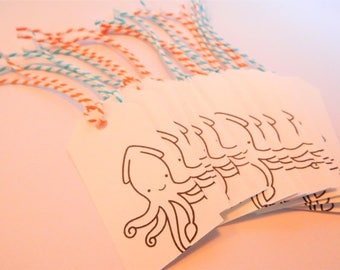 KRAKEN Tags - Qty 12 - Small Tag - 1 5/8 x 3 1/4 inches - Favor tag - Squid birthday - Underwater party - Ocean gift tag