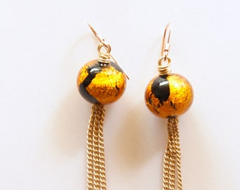 Murano Venetian Gold Earrings, Bohemian Style Earrings, Authentic Murano Glass, Ready to Ship