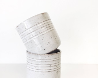 tumblers cup mug ceramic in speckled white and brown clay textures   ONE mug