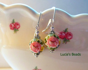 Pretty New Pink Rose on White12 MM Japanese Tensha Bead Earrings