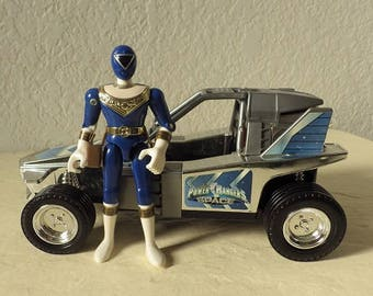 Power Rangers in Space Blue Figure with Deluxe Silver Galactic Rover Vehicle Bandai 1998