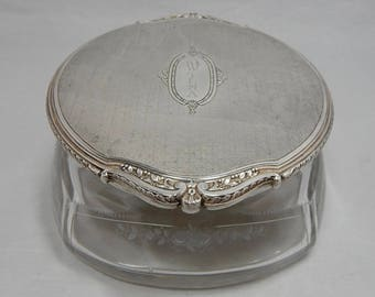 Antique R. Blackinton & Co. Sterling Silver and Etched Crystal Vanity Powder Jar   OBO9