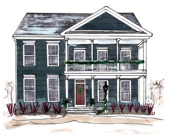 House portraits from photographs, custom house painting service, custom house print, watercolor home painting, house sketch, home drawing
