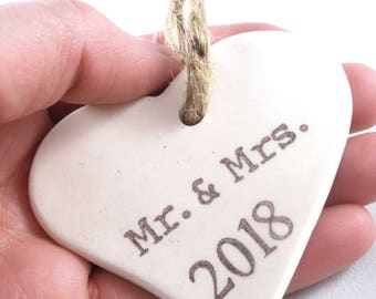 First Valentines Day Heart Ornament Personalized Gift First VDay as Mr. and Mrs., New Couple Gift For Wife Custom Valentines Day Ornament