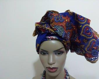 Blue Dashiki African headwrap ready made fabric, unique head wrap turban, Women's hair accessories/ Africa