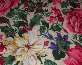 Vintage fabric Fat Quarter, Pink, red, white, green, roses, holly, pine cones, floral