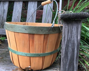Vintage Bushel Basket Harvest Green Trim Vintage Split Wood Farmhouse